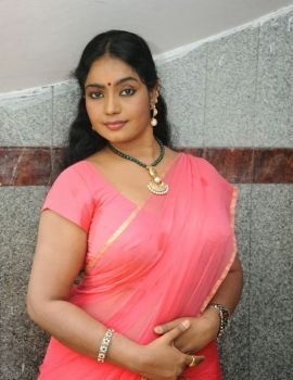 Telugu Actress Jayavani Saree Stills at Raj Mahal Movie Launch