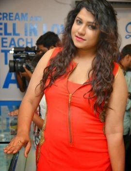 Actress Jyothi in Red Dress at Makers of Milkshakes Shop Launch