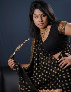 Telugu Actress Jyothi Black Saree Stills