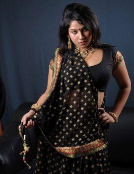 Telugu Actress Jyothi Black Saree Stills