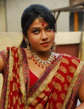 Telugu Actress Jyothi Red Saree Stills