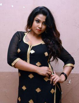 Telugu Side Actress Jyothi in Black Salwar Stills