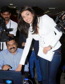 Actress Kajal Agarwal Latest Stills in White Shirt