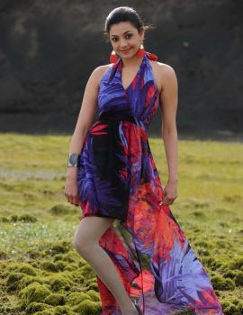Cute Kajal Agarwal in Violet Floral Skirt