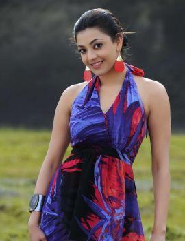 Cute Kajal Agarwal in Violet Floral Skirt