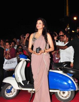 Kajal Agarwal Latest Stills in Saree at Special 26 Audio Launch