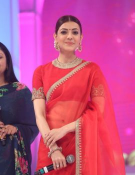 Kajal Aggarwal in Red Transparent Saree at Brahmotsavam Audio Release