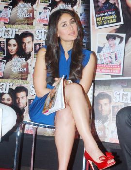 Kareena Kapoor Hot Thigh in Blue Mini Dress