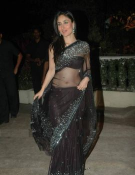 Kareena Kapoor wear Black Transparent Saree at Wedding Reception