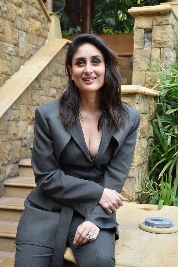 Kareena Kapoor Wearing a Charcoal-Grey Coloured Slightly Slit Pant-Suit