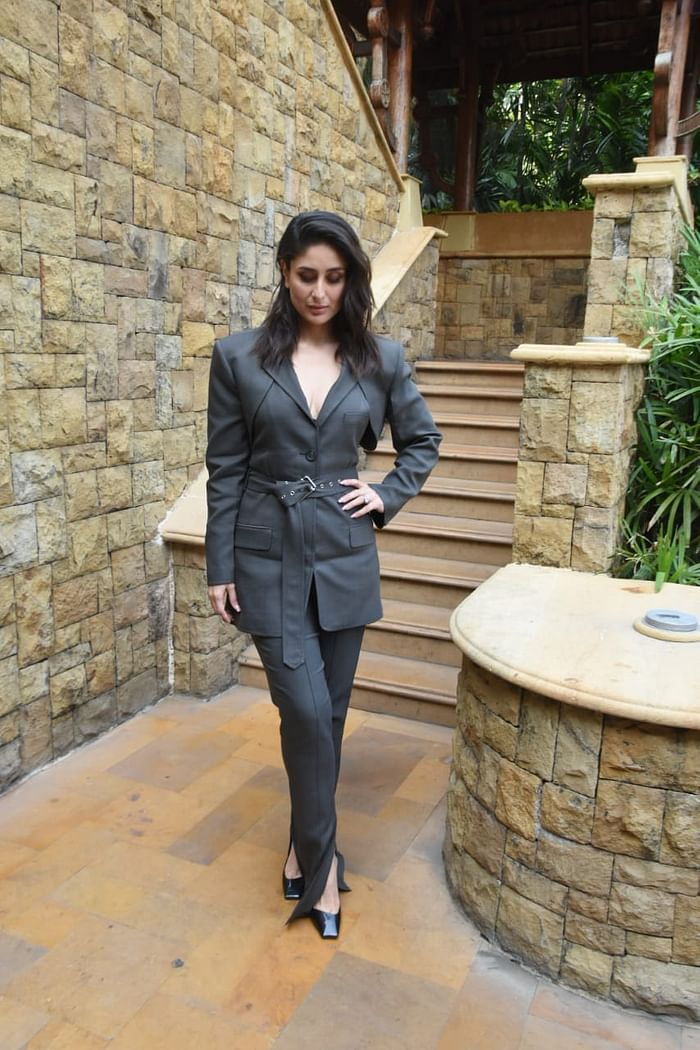 Kareena Kapoor Wearing a Charcoal-Grey Coloured Slightly Slit Pant-Suit