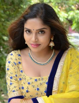 Karunya Chowdary Stills at Vasudhaika 1957 Movie Press Meet
