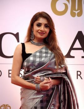 Actress Karunya Ram Saree stills Dadasaheb Phalke Awards South 2019 Red Carpet