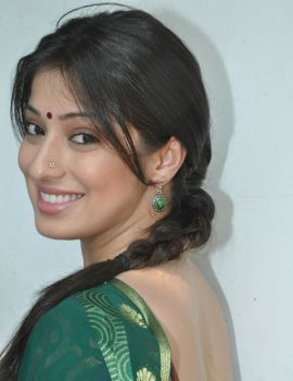 Lakshmi Rai in Green Saree at Rani Ranamma Muhurat