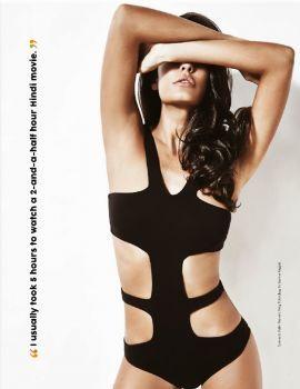 Lisa Haydon in Black Swimsuit Stills at FHM Magazine 2015 in May Edition