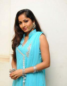 Madhavi Latha Stills in Sleeveless Sky Blue Salwar Kameez