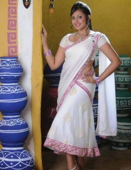 Madhu Shalini Latest Photoshoot in White Saree