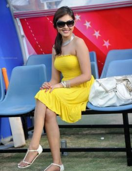 Madhu Shalini Stills in Yellow Top at Celebrity Cricket League