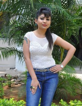 Madhulagna Das in White Top and Blue Jeans Stills