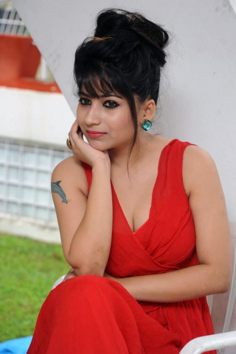 Telugu Actress Madhulagna Das Stills in Red Dress