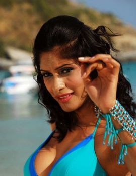 Telugu Actress Malishka Spicy Bikini Stills in Beach
