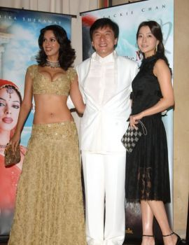 Bollywood star Mallika Sherawat with Jackie Chan at 58th Annual Film Festival de Cannes