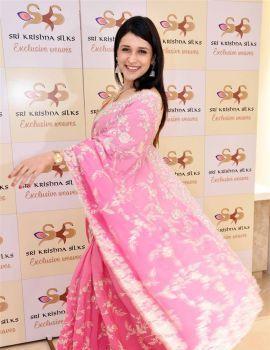 Mannara Chopra Pics from Sri Krishna Silks Special Wedding Collection Launch