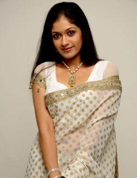 Kannada Actress Meghana Raj Stills in White Saree