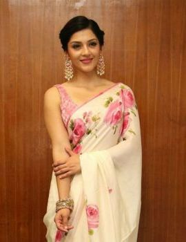 Mehreen Pirzada in Saree at Nenjil Thunivirunthal Movie Trailer Launch