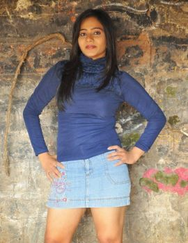 Mithra Stills in Blue T-Shirt & Denim Mini Skirt