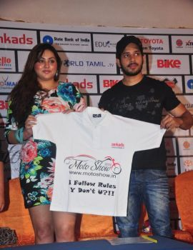 Namitha and Bharath at Moto Show Logo Launch
