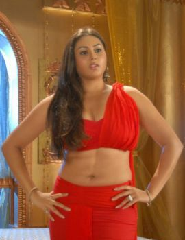 Namitha Hot Navel Show In Red Dress