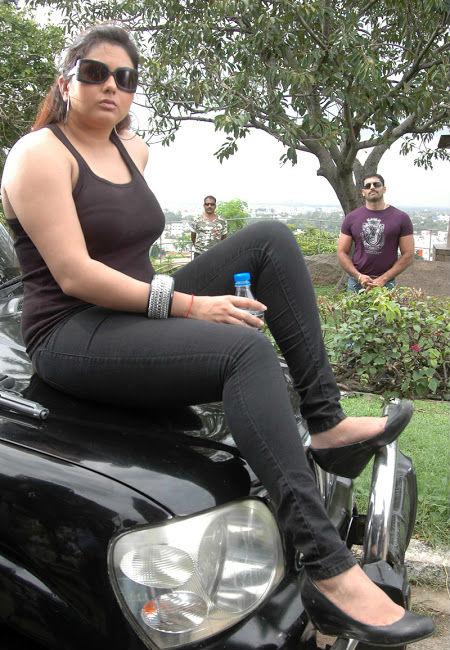 Namitha latest hot photos stills in tanktop and tight jeans from Telugu movie Sukra