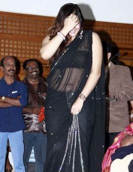 Namitha Navel Show Photos in Black Saree