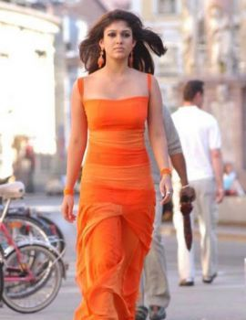 South Indian Actress Nayanthara in Orange Dress