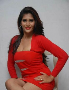Neha Saxena in Red Dress at Dandu Film Press Meet