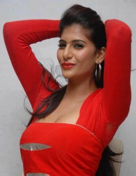 Neha Saxena in Red Dress at Dandu Film Press Meet