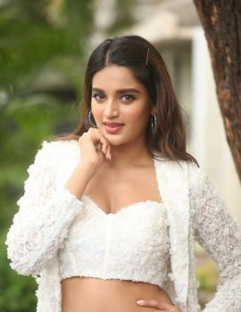 Tollywood Actress Nidhhi Agerwal Stills at iSmart Shankar Success Meet