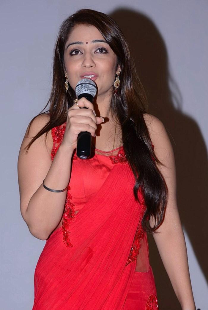 Nikitha Stills in Red Saree at Terror Movie Press Meet