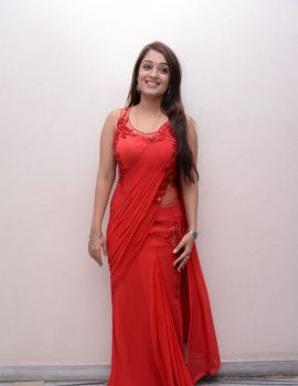 Nikitha Stills in Red Saree at Terror Movie Press Meet