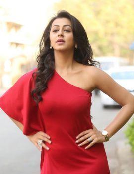 Nikki Galrani in Red Dress at Malupu Movie Success Meet