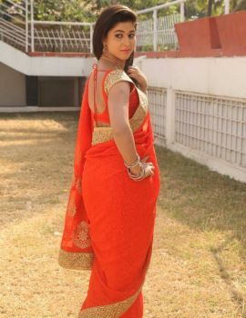 Telugu Heroine Pavani Reddy Stills in Orange Saree