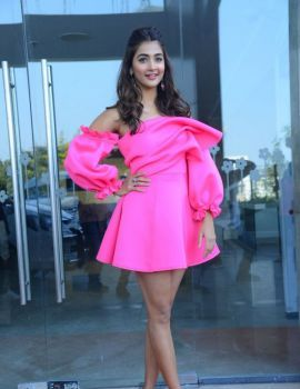 Pooja Hegde Wearing Pink Short Dress at Ala Vaikunthapurramuloo Press Meet
