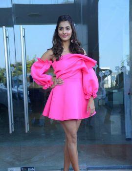 Pooja Hegde Wearing Pink Short Dress at Ala Vaikunthapurramuloo Press Meet