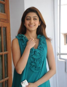 Pranitha Subhash in Blue Sleeveless Dress at Attarintiki Daredi Interview