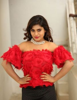 Priyanka Augustin in Red Dress at Prema Antha Easy Kadu Movie Press Meet