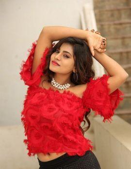 Priyanka Augustin in Red Dress at Prema Antha Easy Kadu Movie Press Meet