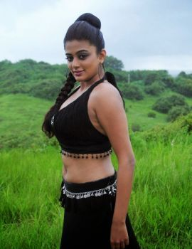 Priyamani Hot Navel Show Photoshoot in Black Dress