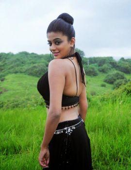 Priyamani Hot Navel Show Photoshoot in Black Dress