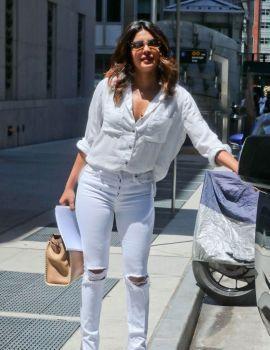 Priyanka Chopra in Ripped White Jeans in New York